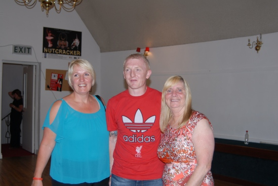 Margaret Aspinall (right) and Sue Rogers with a local Liverpool fan at Cork's Firkin Crane theatre.