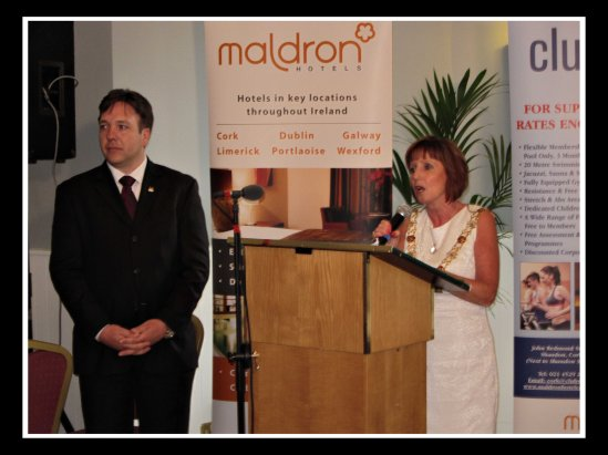 Cllr. Catherine Clancy opening the Mother Jones exhibition and festival at the Maldron Hotel with Michael Lally of the Maldron and Mother Jones festival committee