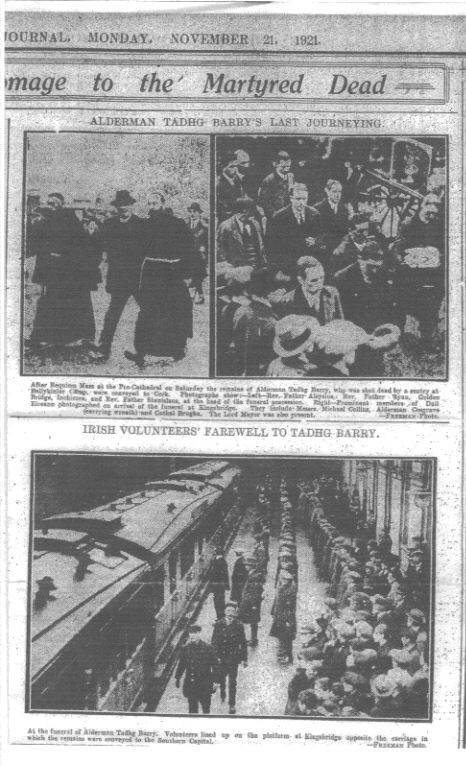 Newspaper clipping of Tadhg Barry's funeral cortege leaving Dublin
