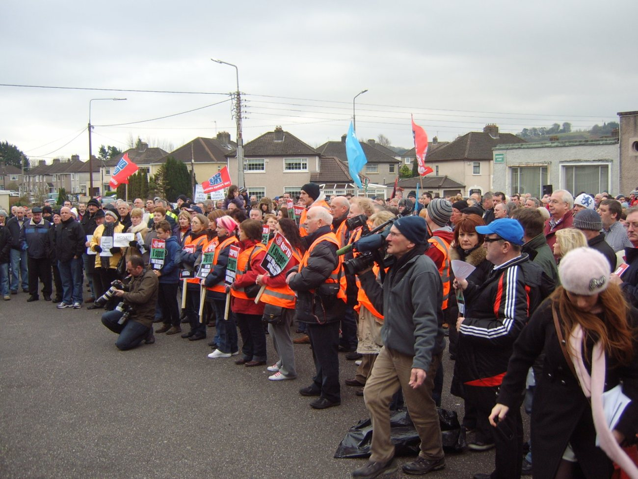 Vita Cortex workers and supporters rally at factory