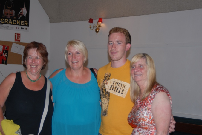 Margaret Aspinall (right) and Sue Rogers of the Hillsborough Family support group with local people at the Firkin crane.