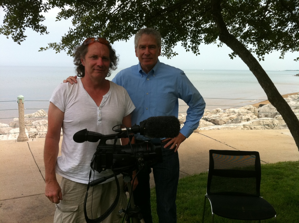 Eddie Noonan from Frameworks Films on location in Chicago with author Elliott Gorn