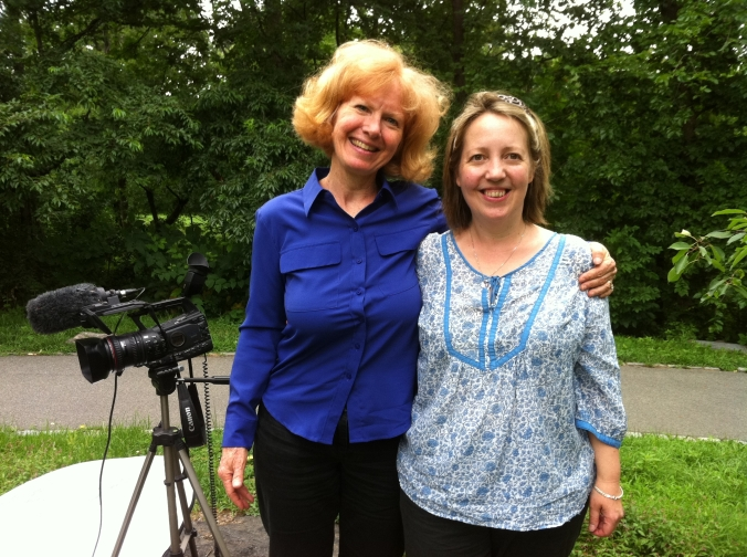 Emma Bowell of Frameworks Films (right) with author / historian Marat Moore  on location in New York.