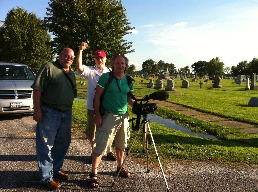 Eddie Noonan of Frameworks Films, filming on location at Mt. Olive cemetery, Illinois with Dave Rathke and Terry