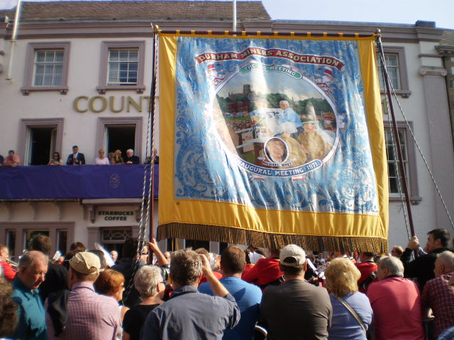new banner celebrating inaugural meeting of Durham Miners' of 1871 unveiled at the County Hotel