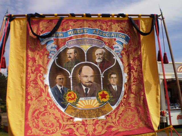 Irish socialist leader and trade union giant James Connolly featured on banner with other icons of the movement