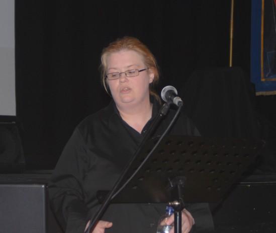 Claire McGettrick speaking at the Firkin Crane yesterday