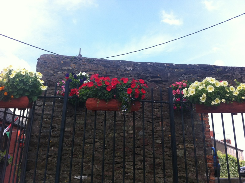 Flower baskets at Shandon