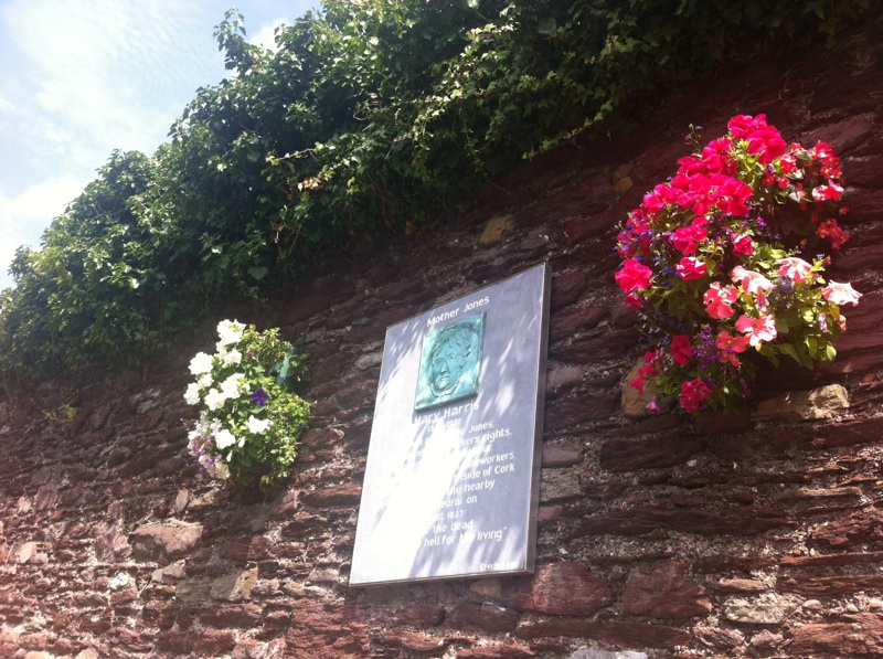 Flowers around the Mother Jones plaque, John Redmond Street, Shandon, Cork City.