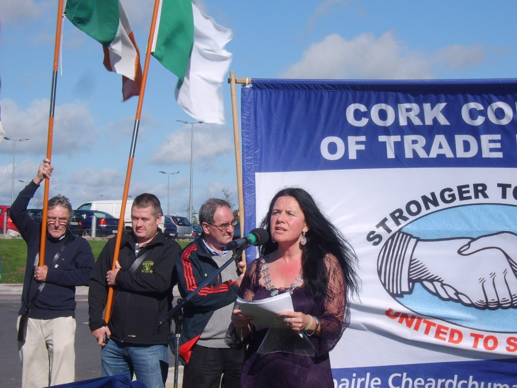 Ann Piggott, President of Cork Council of Trade Unions, speaking at the naming ceremony for Tadhg Barry Road, Cork.