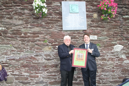 Dave Hopper, Durham Miners Association with Michael Lally, Cork Mother Jones committee with presentation of framed scroll from the miners - at the Mother Jones Plaque, Cork.