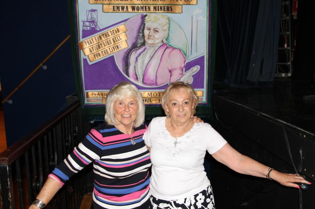 Anne Scargill and Betty Cook, Women Against Pit Closures at the Firkin Crane with Yorkshire Mother Jones banner.