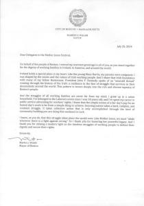 Letter from the Mayor of Boston