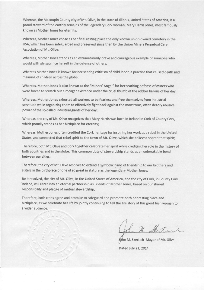 The Mt. Olive proclamation of friendship signed by Mayor John M. Skertich