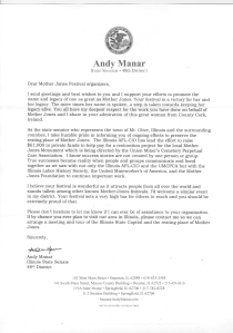 Letter received from US Senator Andy Manar (D), Illinois