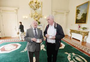 Fr. Peter McVerry at Áras an Uachtarán with President Higgins