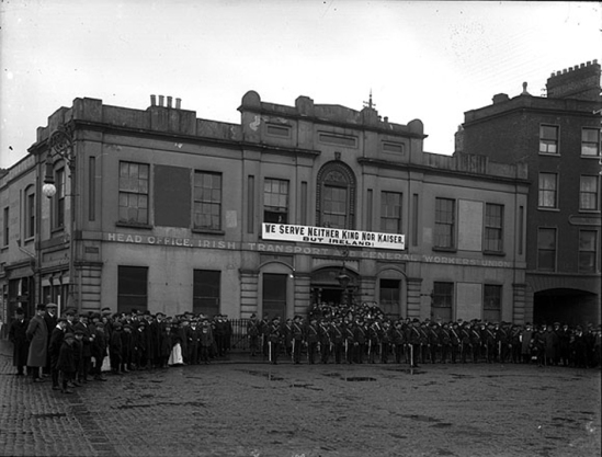 Members of the Irish Citizen Army outside Liberty Hall, Dublin