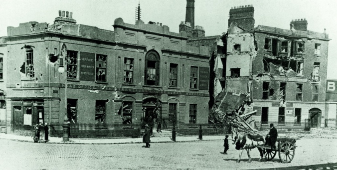 Liberty Hall in ruins after the 1916 Rising
