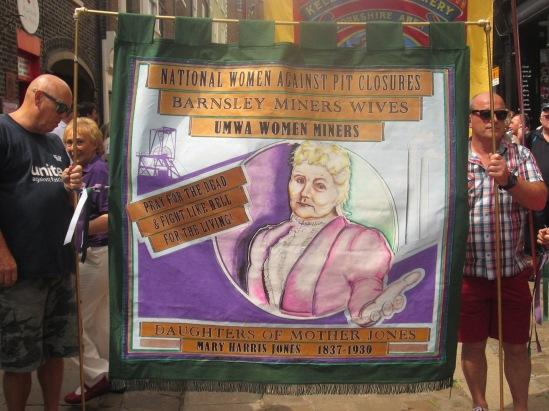 Daughters of Mother Jones banner at Durham Gala 2015