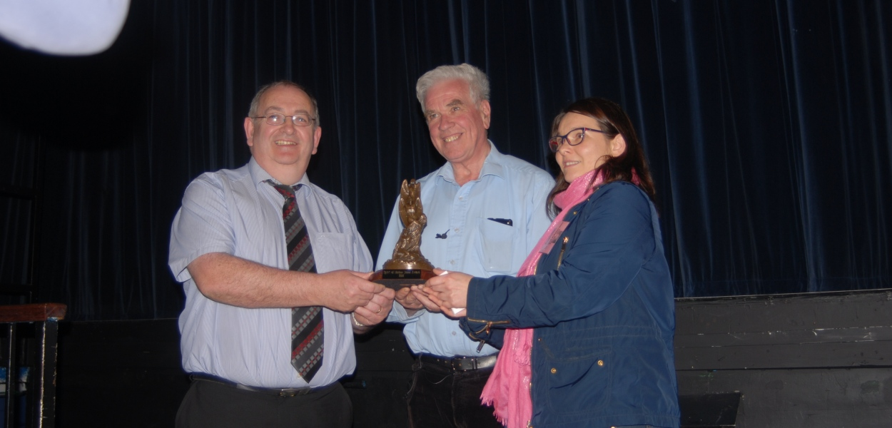Fr. McVerry receives the award from Jim Nolan and Ailbhe O'Mahony of the Cork Mother Jones Committee