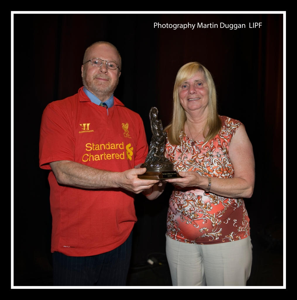 Richard T. Cooke of the Cork Mother Jones Committee presenting the Spirit of Mother Jones Award 2013 to Margaret Aspinall. Photo (c) Martin Duggan.