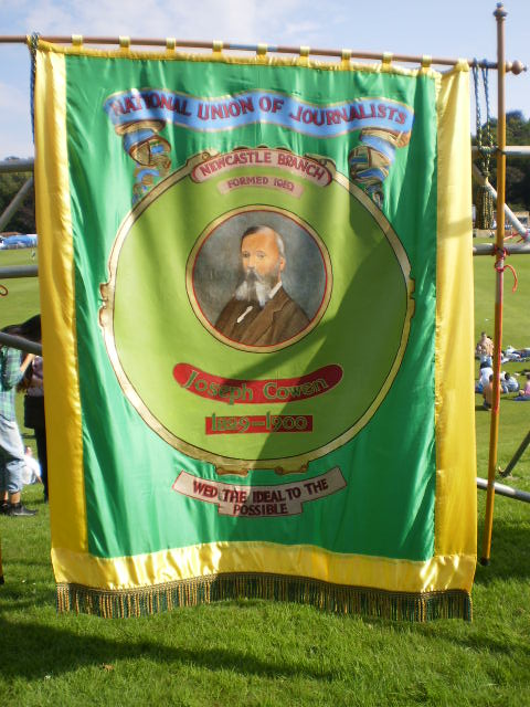 One of the very many colourful union banners to be seen at the Durham gala
