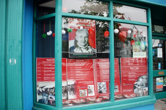 Mother Jones window display at Cork Tourist Office