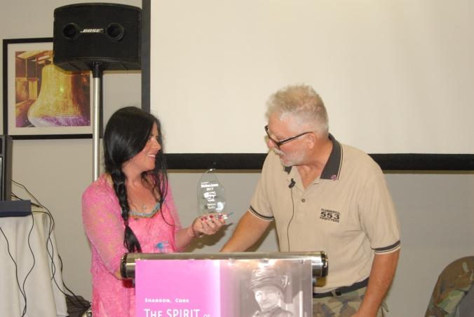 Ann Piggot makes presentation to James Goltz
